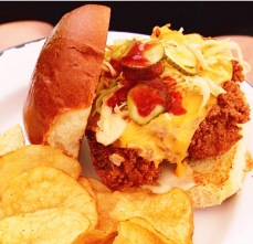 Spicy fried chicken sandwich